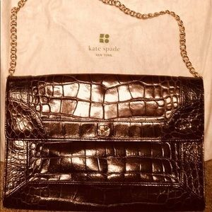 Kate Spade Chestnut Brown Crocodile Shoulder Bag